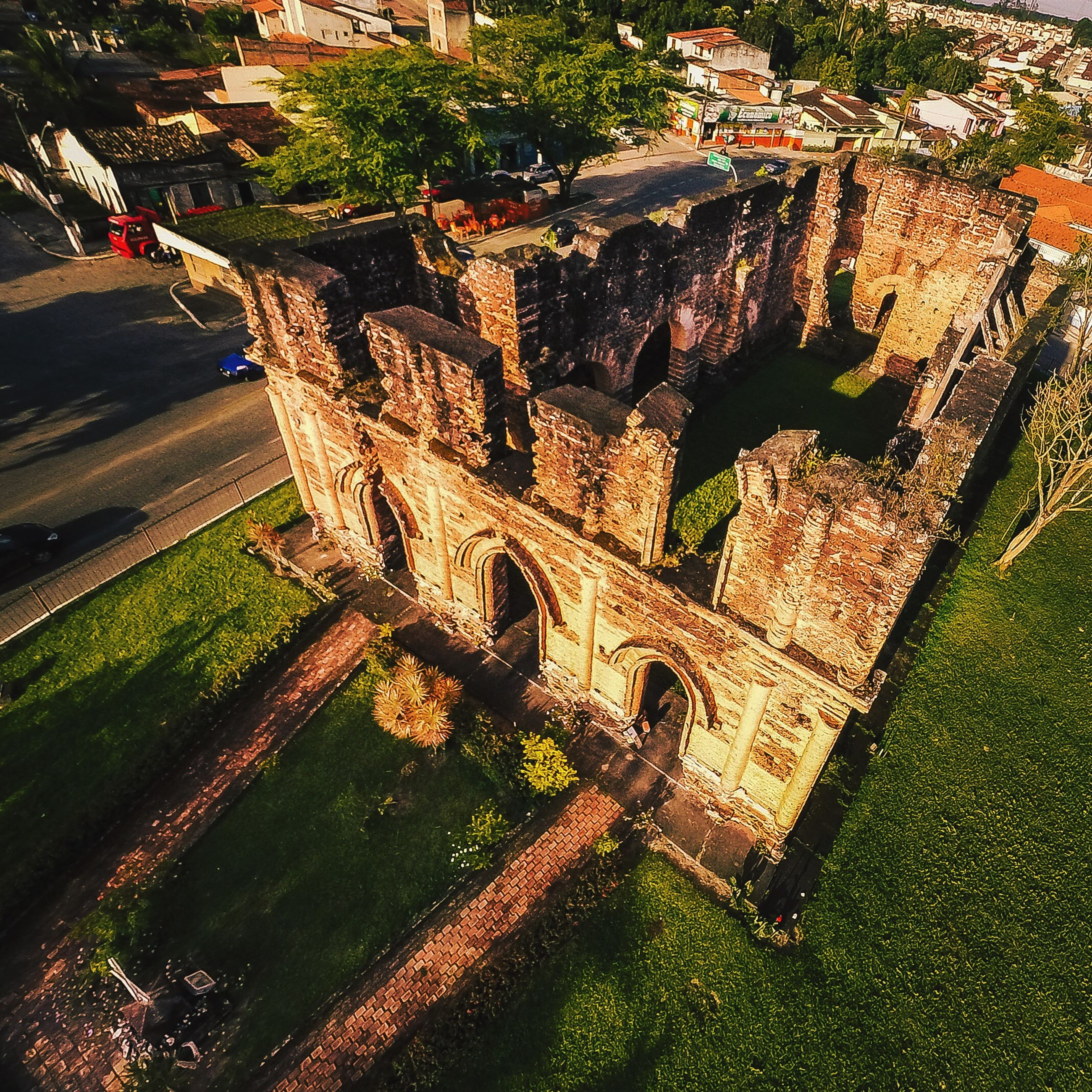 architecture, built structure, building exterior, history, grass, tree, high angle view, ancient, travel destinations, old, old ruin, the past, sunlight, day, outdoors, green color, travel, growth, famous place, plant
