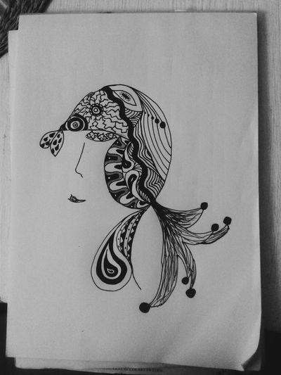 A woman Drawing Art Blackandwhite Zentangle