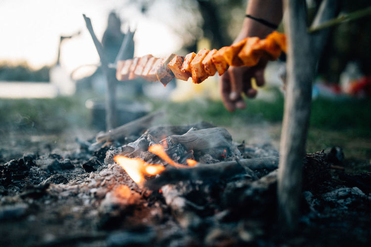 Burning Fire Fire - Natural Phenomenon Flame Heat - Temperature Nature Bonfire Selective Focus Food Real People Food And Drink Barbecue Day One Person Campfire Human Body Part Meat Orange Color Camping Smoke - Physical Structure Preparation  Preparing Food Outdoors Hand Wood