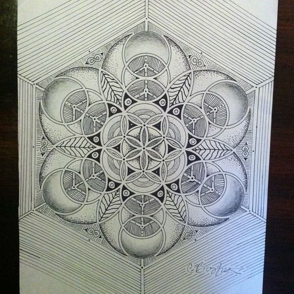 Sacredgeometry Floweroflife Finished Dots lines love