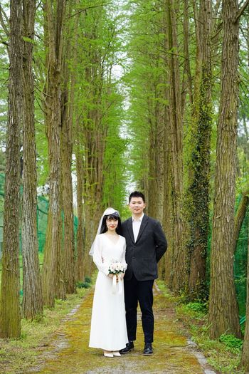 Bride And Groom Tree Plant Adult Full Length Standing Two People Celebration Forest Looking At Camera Togetherness Wedding Couple - Relationship Love