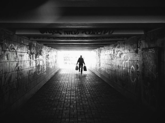Tunnel Walking Full Length Silhouette The Way Forward Architecture Adult People Real People Copy Space City Architecture Kiev Ukraine Unterführung Senior Adult One Man Only