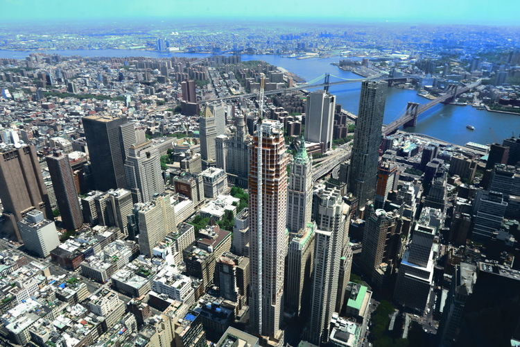 Aerial view of skyscrapers in city