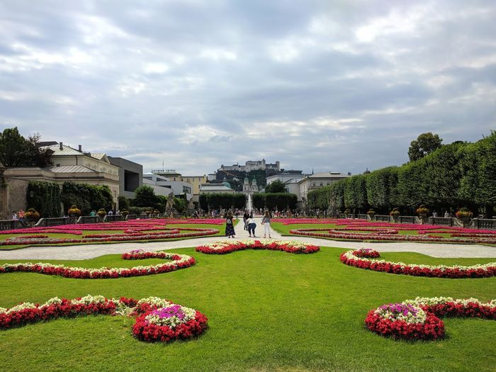 Salzburg Flower Water City Spraying Flowerbed Multi Colored Topiary Sky Cloud - Sky Architecture Ornamental Garden