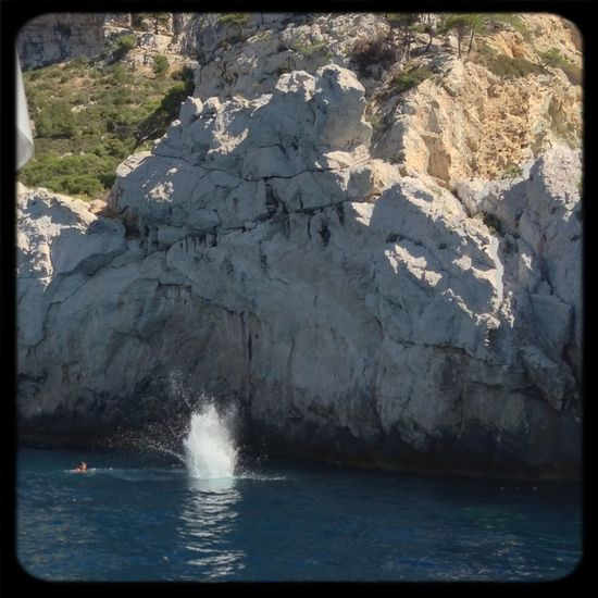Kids (not me) Jumping off Cliffs at beautiful Calanques. Awesome !