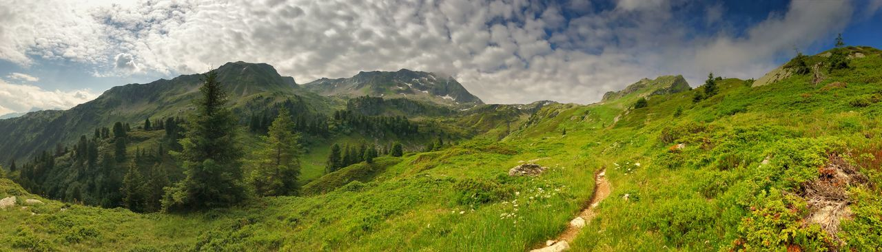 Panorama Panoramic Beauty In Nature Cloud - Sky Day Environment Green Color Idyllic Land Landscape Mountain Mountain Peak Mountain Range Nature No People Non-urban Scene Panoramic Plant Scenics - Nature Sky Tranquil Scene Tranquility Tree