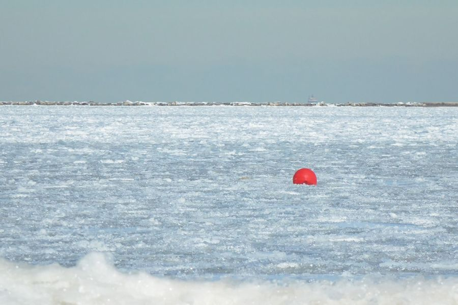 Chicago winter, along the lake Beauty In Nature Buoy Cold Temperature Day Floating On Water Frozen Water Horizon Over Water Nature No People Off Season Outdoors Red Scenery Scenics Sky Water Shades Of Winter
