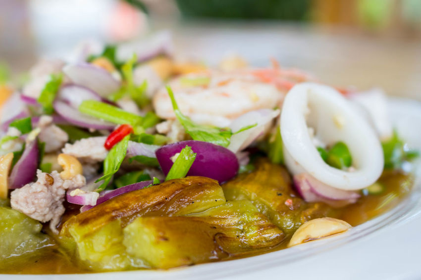 Spicy eggplant burn ยำมะเขือเผา แซ่บนัว Eggplant Foods Spicy Spicy Eggplant Burn Thai Food ยำมะเขือเผา อาหาร อาหารอีสาน อาหารไทย แซ่บ