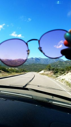 Nature Road Day Sky Car Sun Sunglasses Pink Rosy Rose Colored Glasses Driving Mountain Ramona California Travel Millennial Pink Live For The Story Summer Exploratorium Visual Creativity Focus On The Story