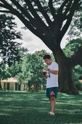 Full length of boy standing on tree