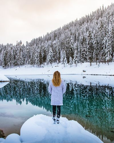 Caumasee Rear View Real People One Person Sky Women Beauty In Nature My Best Photo Nature Water Cold Temperature Lifestyles Lake Day Snow Winter Full Length Warm Clothing Outdoors Scenics - Nature Standing