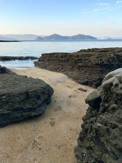 Down By The Sea The Way Forward Nature Beauty In Nature Beach Sand Sea Scenics Tranquility Tranquil Scene Water Rock - Object Sky Outdoors No People Day Mountain Landscape Imari Japan