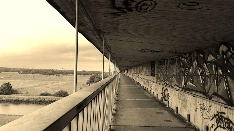 Huntebrücke Oldenburg Bridge Black And White Graffiti Oldenburg