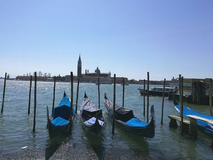 Venice, Italy Gondola - Traditional Boat Nature Water Sea Sky Blue Clear Sky Lagoon Built Structure Churches Nautical Vessel EyeEmNewHere EyeEm Best Shots