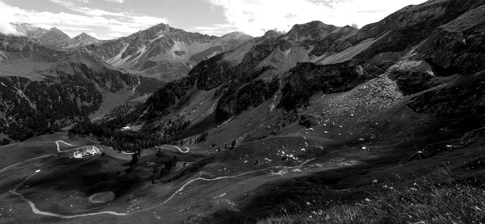 Liechtensteiner Bergwelt - Paradise at your feet! Alpenpanorama Balzner Alpe Contrast And Lights Gapfahl Hazy Days Liechtensteiner Bergwelt Maiensäss Naafkopf Panoramic View Rhaetikon Summer In Liechtenstein Valüna Alpine Landscape Beauty In Nature Black And White Photography Hiking Adventures Hiking Paradise Liechtenstein Mountain Mountain Range Nature No People Outdoors Scenics Tranquility