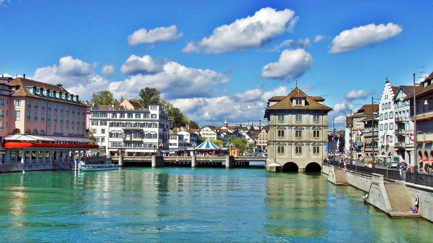 Limmat mit Rathausbrücke Architecture Blue Building Exterior City Cloud Cloud - Sky Limmat Limmatquai Switzerland Town Travel Destinations Water Waterfront Zürich