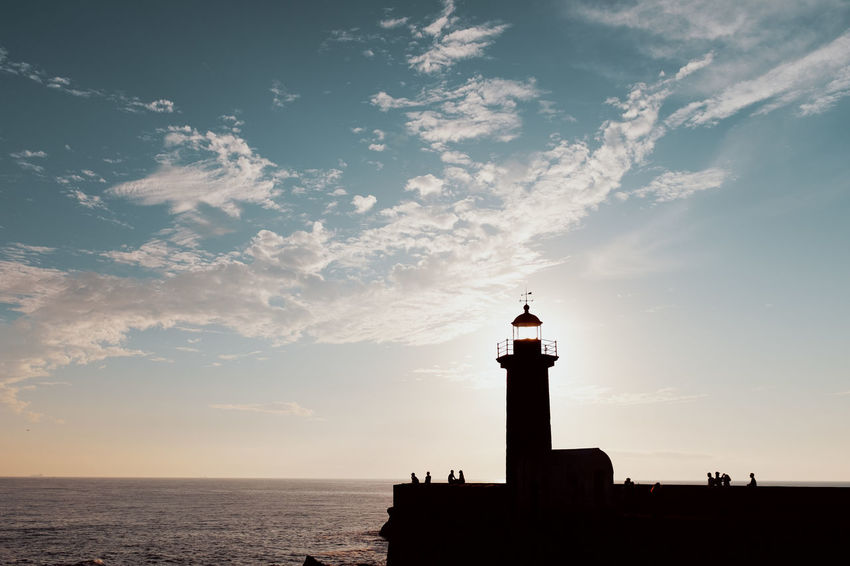 Threeweeksgalicia Built Structure Building Exterior Architecture No People Building Outdoors Sky Water Sea Lighthouse Cloud - Sky Horizon Over Water Scenics - Nature Horizon Nature Guidance Beauty In Nature Tower Security Protection Sunset