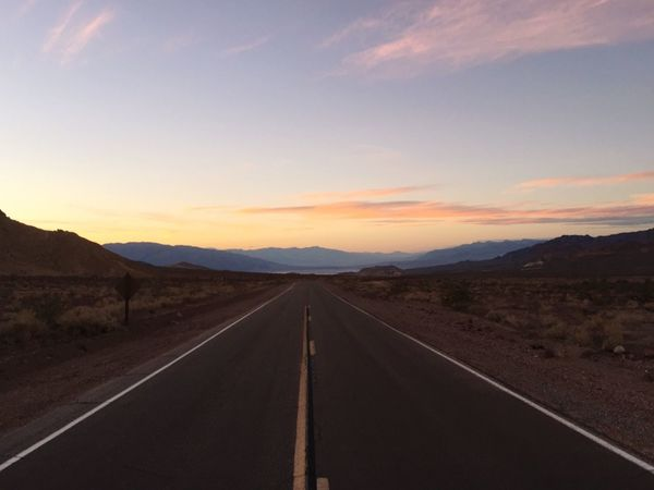 Death Valley Road Perspective Photography Sunset Sunset And Clouds  Long Journey Into The Light Travel Photography Long Road Journey