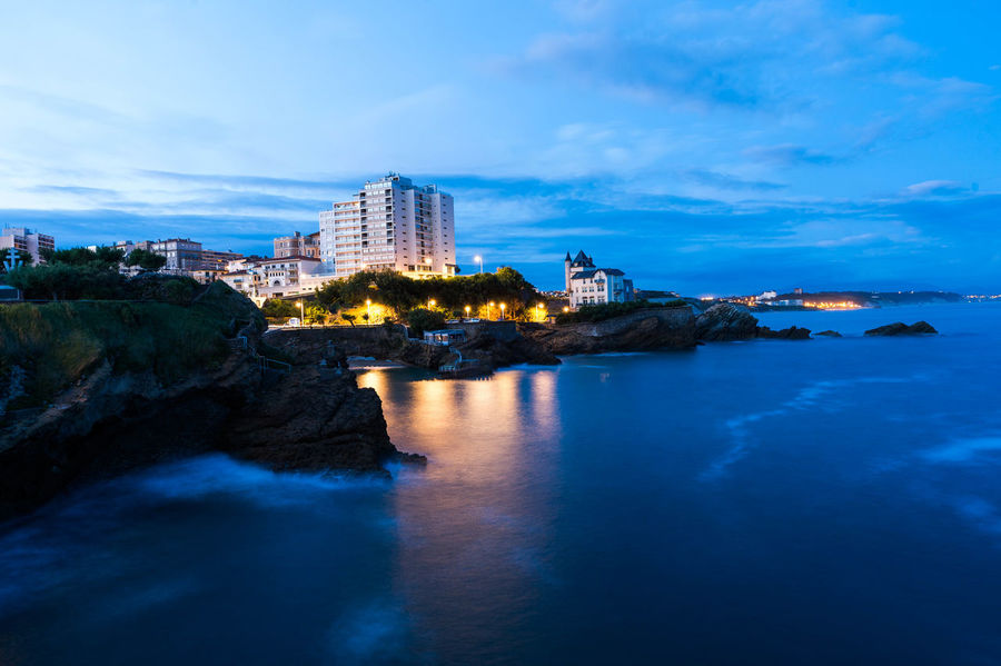 Biarritz Beach Beauty In Nature Building Exterior Coast Illuminated Long Exposure Night Night Lights Night Photography No People Ocean Outdoors Reflection Rocks Sea Tranquility Travel Destinations Water