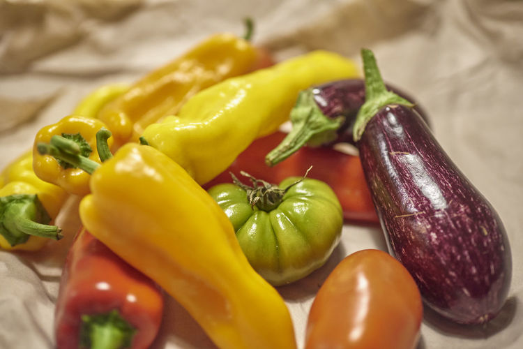 Close-up of multi colored bell peppers