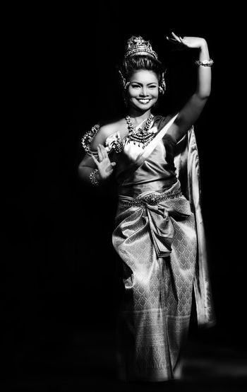 Beautiful Blackandwhite Classic Confidence  Front View Person Standing Thai Dancers Thailand Woman