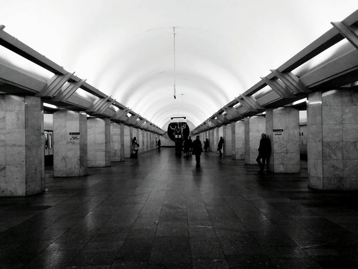 Notes From The Underground Subway Blackandwhite Monochrome Urban Geometry Architecture Peoplephotography EyeEmRussianTeam Taking Photos Light And Shadow