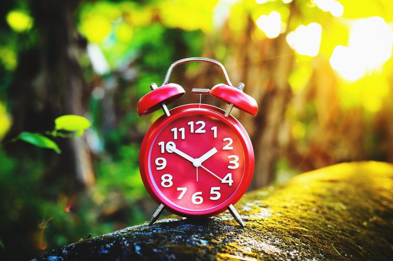 Red Alarm Clock Clock Hand Clockworks Clock Red Alarm Clock Red Alarm Time Clock Alarm Clock Focus On Foreground Number Communication Red Clock Face