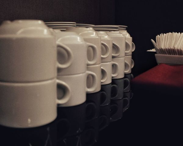 Beautifully Organized Close-up No People Cups And Mugs Table Napkins Glass Table Top Indoors