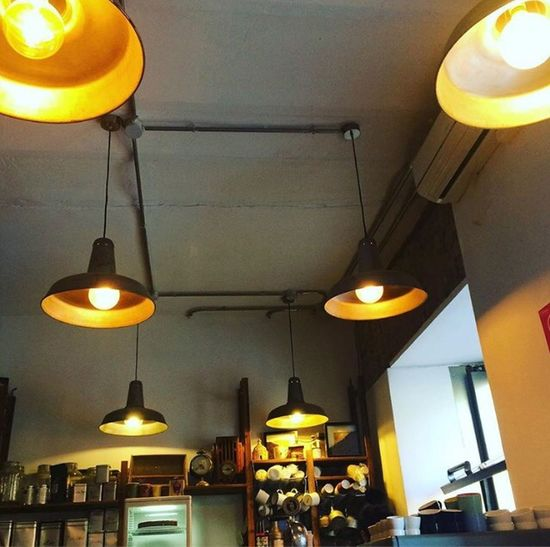 #Lugares Con Encanto #café #Detodounpoco Lighting Equipment Illuminated Pendant Light Hanging Ceiling Indoors  Low Angle View