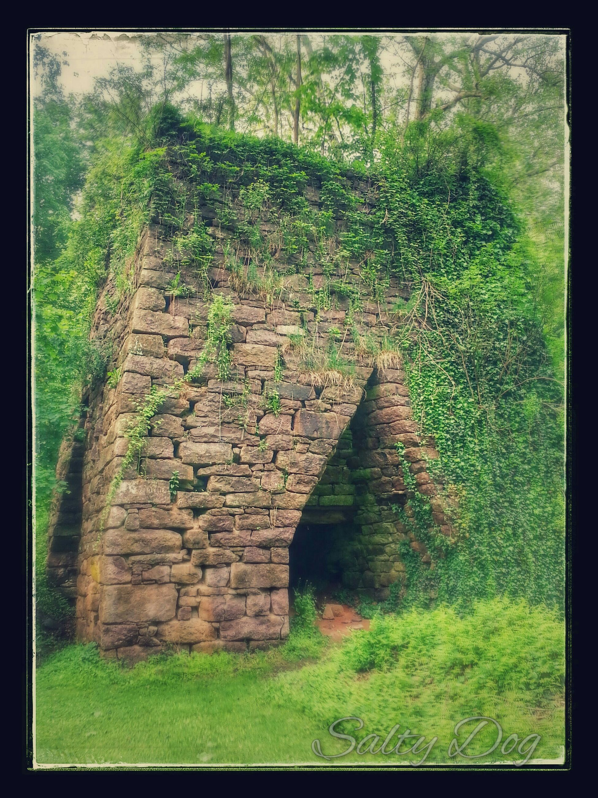 built structure, architecture, transfer print, grass, old, auto post production filter, stone wall, abandoned, the way forward, arch, wall - building feature, plant, history, weathered, brick wall, damaged, run-down, obsolete, day, deterioration