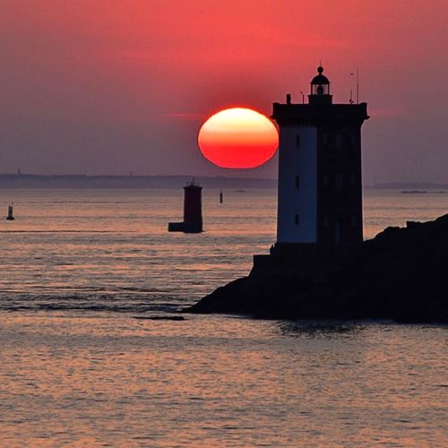 Sunset of Easter. Square Bretagne France Bretagnetourisme Ocean Brittany Le Conquet Sky Water Architecture Built Structure Sunset Sea Building Exterior Nature Travel Destinations Lighthouse Silhouette Beauty In Nature Horizon Horizon Over Water