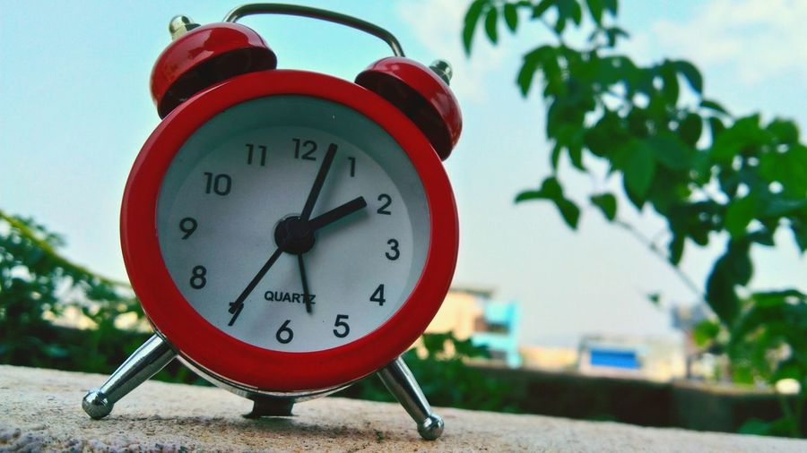 Clock Time Minute Hand Clock Face Hour Hand Day Red No People Alarm Clock Outdoors Close-up Clockwork Red Color Red Plant Clock Plants Skyandclouds  Sky_collection