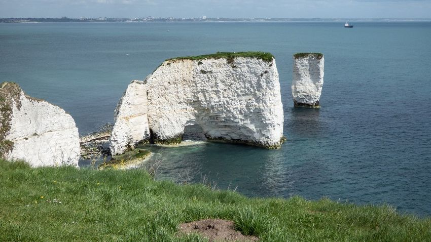 Old Harry Water Sea Beauty In Nature Nature Day High Angle View Beach Scenics - Nature Cliff Outdoors Tranquility Rock