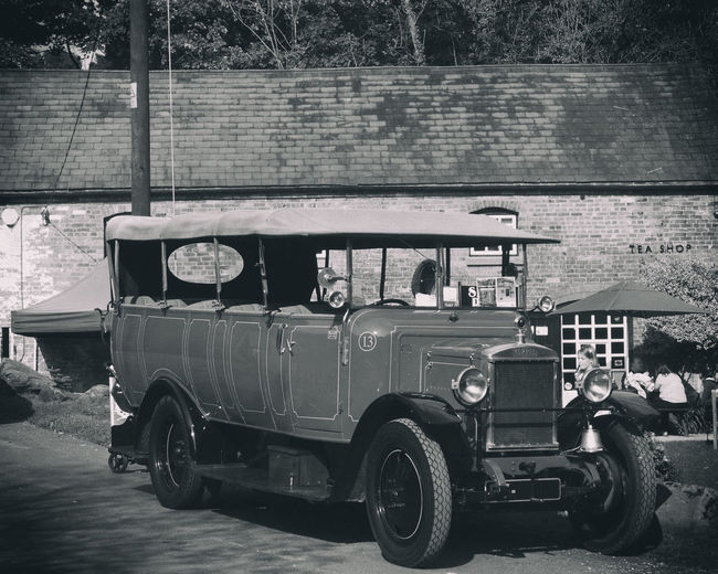 1920s 1926 Old Bus Car Charabanc Day Grand Day Out Land Vehicle Men Mode Of Transport Morris Bus Outdoors People Real People Road Transportation Tree Vintage Bus