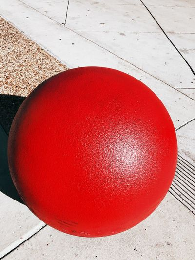 Red Ball Structure High Angle View Spheres Shapes Circular Outdoors Close-up Day No People