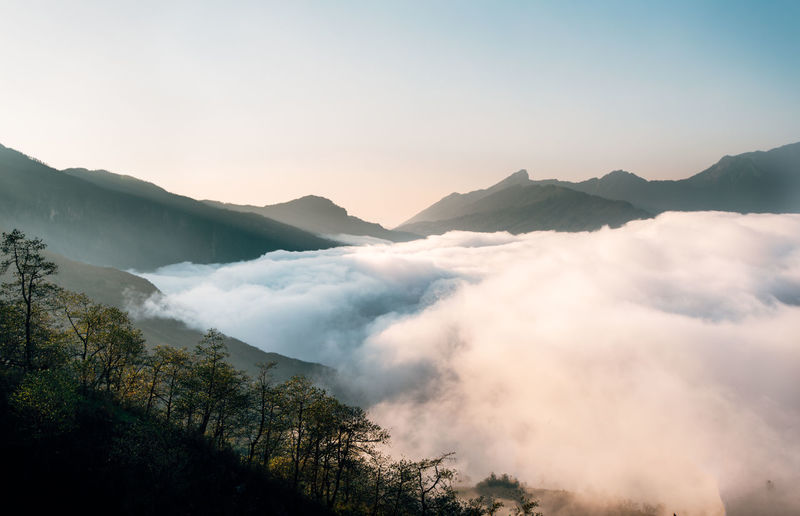 Mountain Scenics - Nature Beauty In Nature Tranquil Scene Cloud - Sky Mountain Range Environment Sky Tranquility Non-urban Scene No People Idyllic Nature Tree Fog Landscape Plant Mountain Peak Remote Majestic Outdoors Hazy  Sa Pa Sapa Vietnam The Great Outdoors - 2019 EyeEm Awards