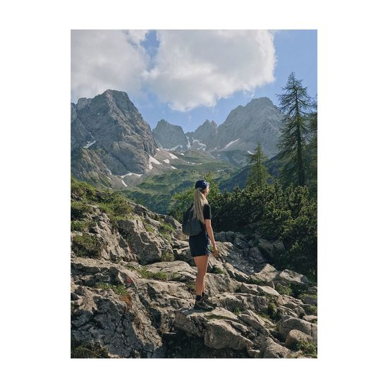 Auto Post Production Filter One Person Transfer Print Sky Nature Real People Leisure Activity Day Lifestyles Tree Mountain Outdoors Standing Women Beauty In Nature Scenics - Nature