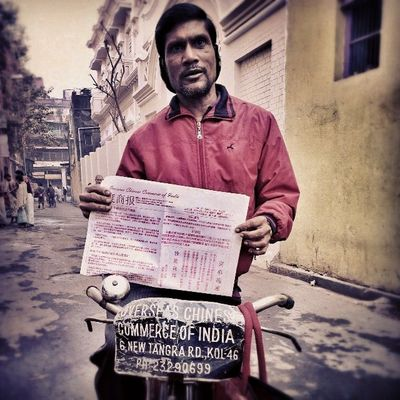 Joy, a newspaper vendor, who delivers The Overseas Chinese Commerce of India, the oldest, home grown Chinese Newspaper of Calcutta, every morning to every Chinese house in central Calcutta. Incrediblecalcutta Whywealllovecalcutta tradition CultureKaleidoscopeTour