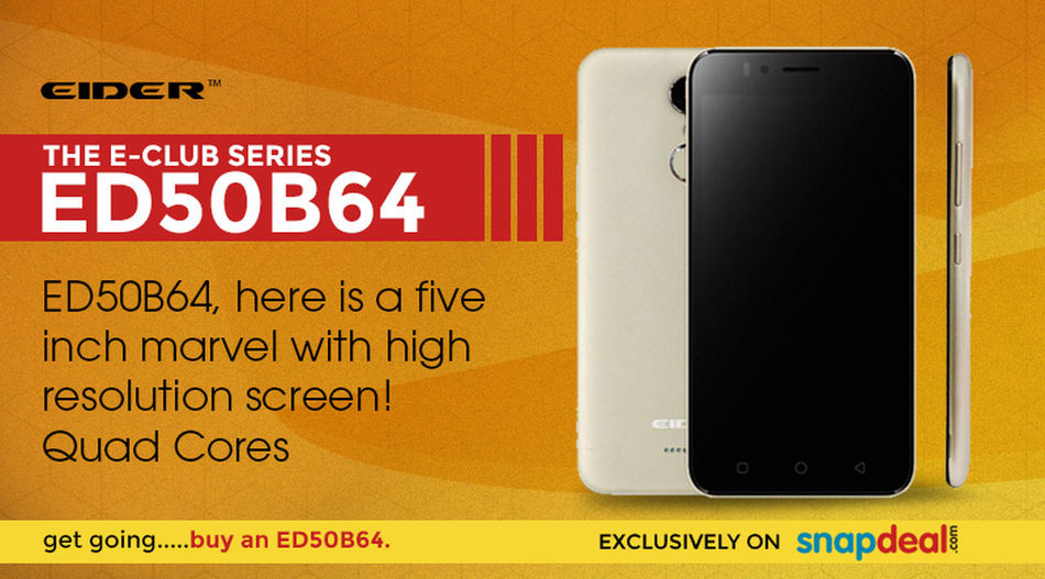"Enquire for the latest and new design ""The EIDER E-Club Series ED50B64"" smartphone coming this month with amazing look, upgraded camera, fingerprint sensor and more features. See full specifications, launch details, and the availability on here - http://www.eiderindia.com/smartphones/eider-e-club-series-ed50b64/ EIDERMobile EIDERPhone EIDERSmartphone Fingerprintsensor"