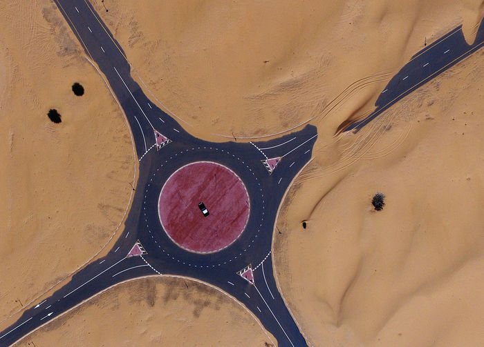 High angle view of objects on sand