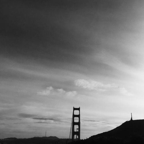 Architecture Black & White Building Exterior Built Structure Cloud - Sky Day Door Bell Golden Gate Bridge Low Angle View Michelangelo Nature No People Outdoors Silhouette Sky Street Art The Creation Of Adam