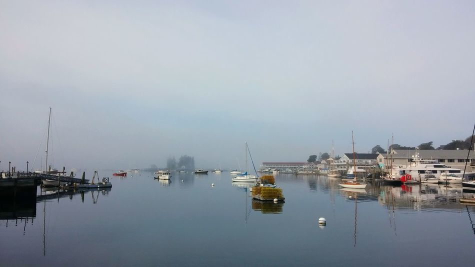 Reflection Water Nautical Vessel Outdoors Tranquility Fog No People Nature Day Harbor Dawn Sky Boothbay Harbor Maine Maine Tranquility Vacations Harbor