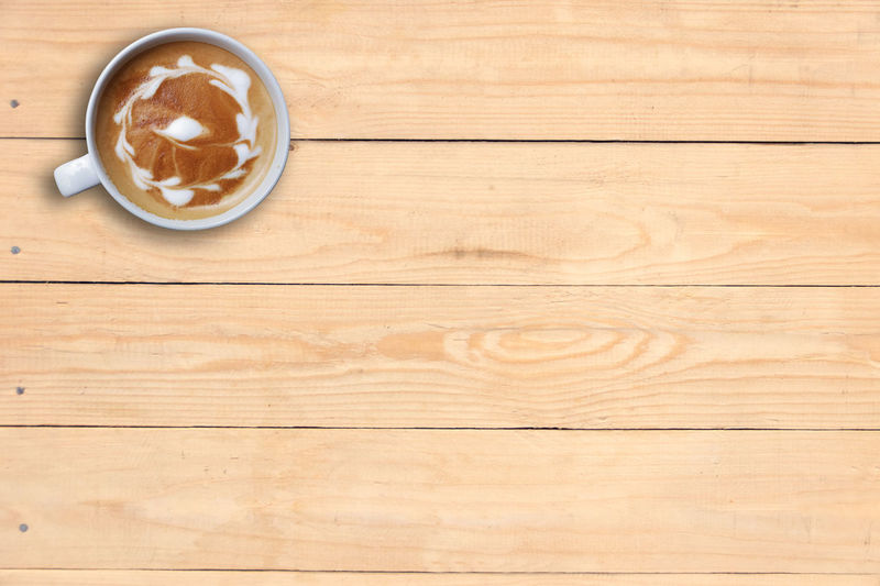 Coffee Desk Hot Latte Wood Wooden Table Art Brown Cappuccino Drink Front Hard Wood High Angle View Plank Table Top View Wooden