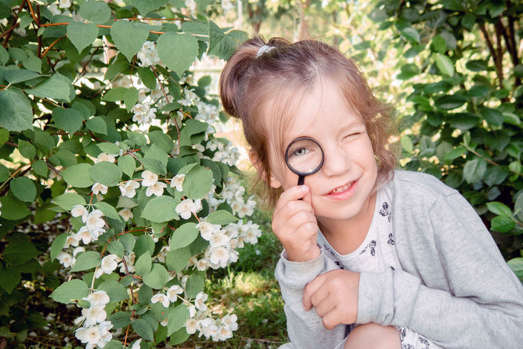Portrait of little girl 4-7 years old with magnifying glass in examining leaves in park
