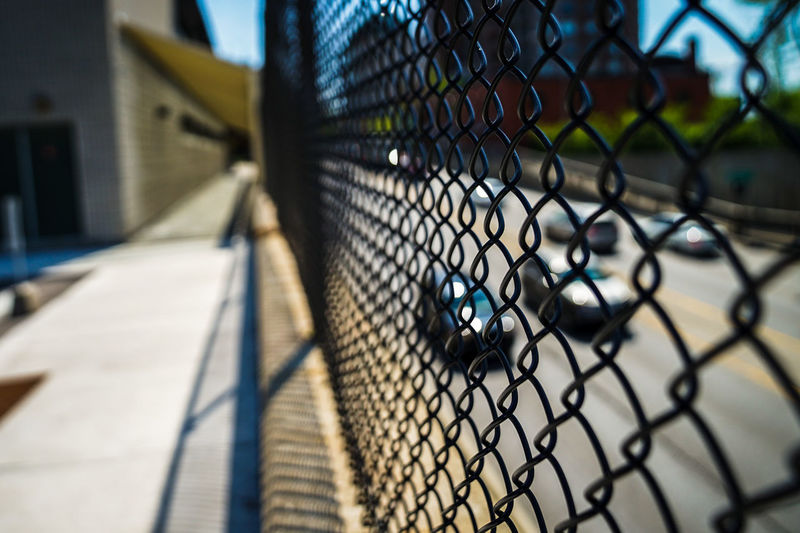 freeway and walkway divider City Competition Playing Field Baseball - Sport Court Protection Safety Chainlink Fence Sky Chainlink Barbed Wire Boundary Barrier Barricade Fence