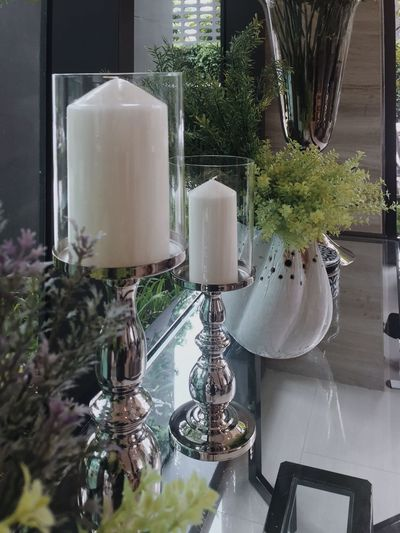 Indoors  Close-up Freshness Day No People Candle Candlelight Light Leaf Decoration Wedding Inspired Inspirational Popular Candle Light Celebration Event Party Home Interior Interior Design Conceptual Concept Beautiful Group Of Objects