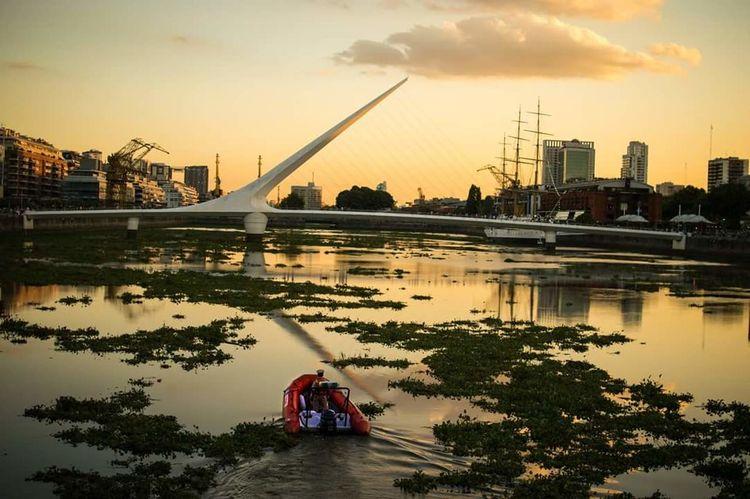 Patrullando el dique Puertomadero Dique Patrol  Landscape Bridge Puentedelamujer River Sunset Golden Patrulla Bote