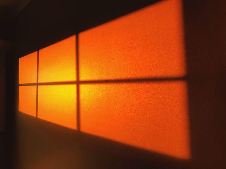 Sunrise View Window Orange Color Sunlight Indoors  Shape