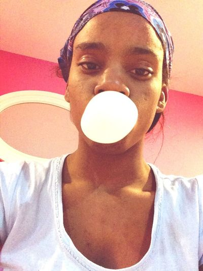 Bored blowing bubbles...I have to go to sleep early today tmw is my big day!