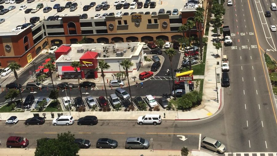 Aerial Shot In N Out Burger LAX Los Angeles International Airport Jet Blue